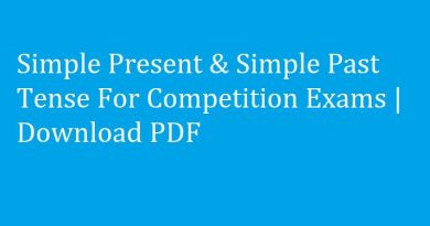 Simple Present & Simple Past Tense For Competition Exams