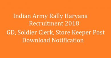 Indian Army Rally Haryana Recruitment 2018