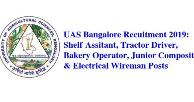 UAS Bangalore Recruitment 2019