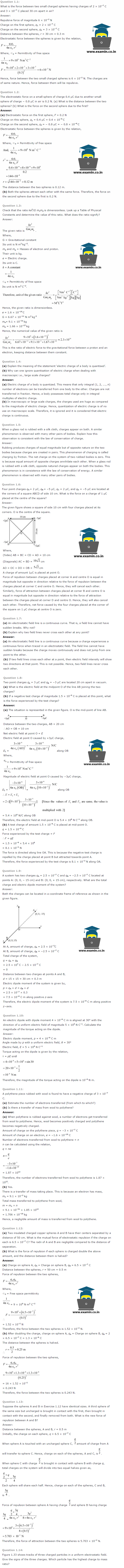 NCERT Solutions Class 12 Physics Chapter 1