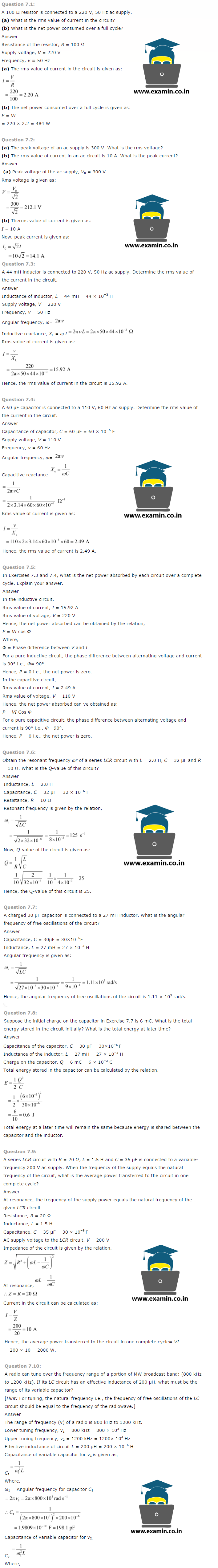 NCERT Solutions Class 12 Physics Chapter 7