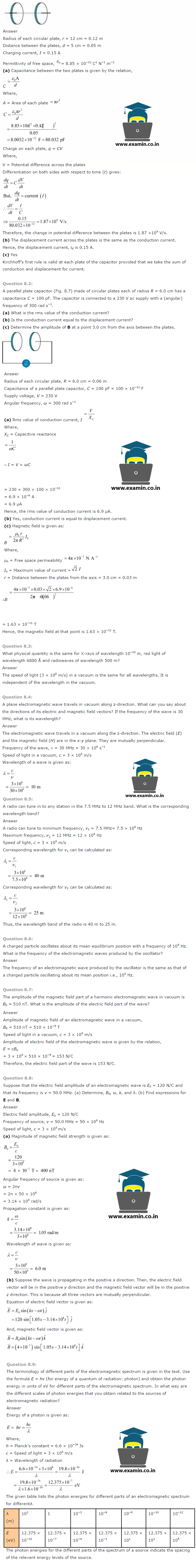 NCERT Solutions Class 12 Physics Chapter 8